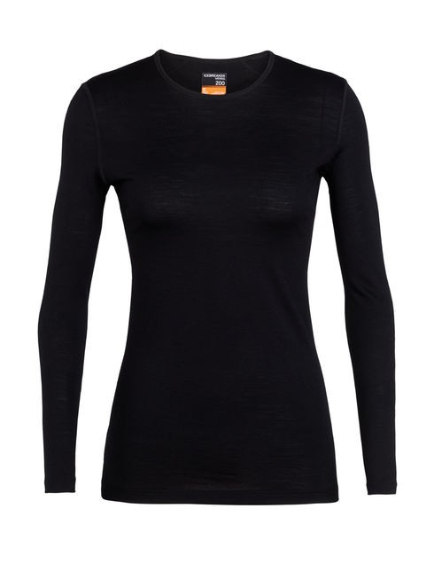 W's Merino 200 Oasis Long Sleeve Crewe Thermal Top, Black, S