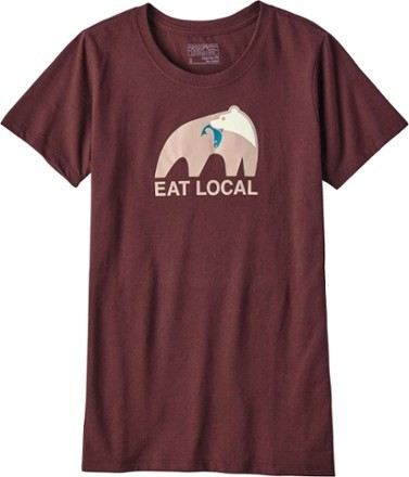 W's Eat Local Upstream Cotton/Poly Responsibili-Tee L / dark ruby